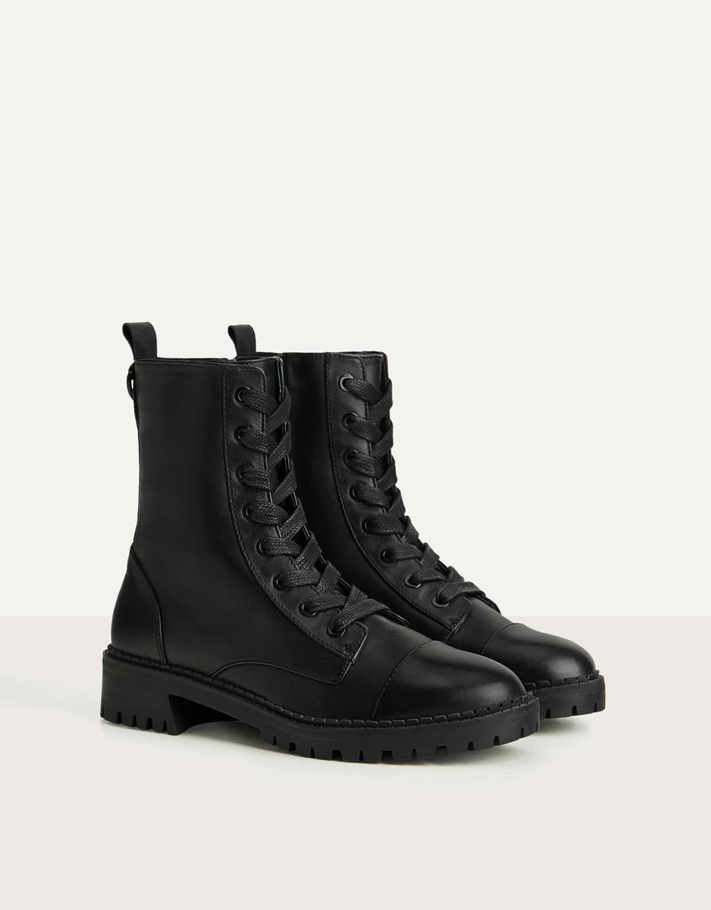 c84394bdaa728 Flat LEATHER ankle boots - Skirts - Bershka Greece