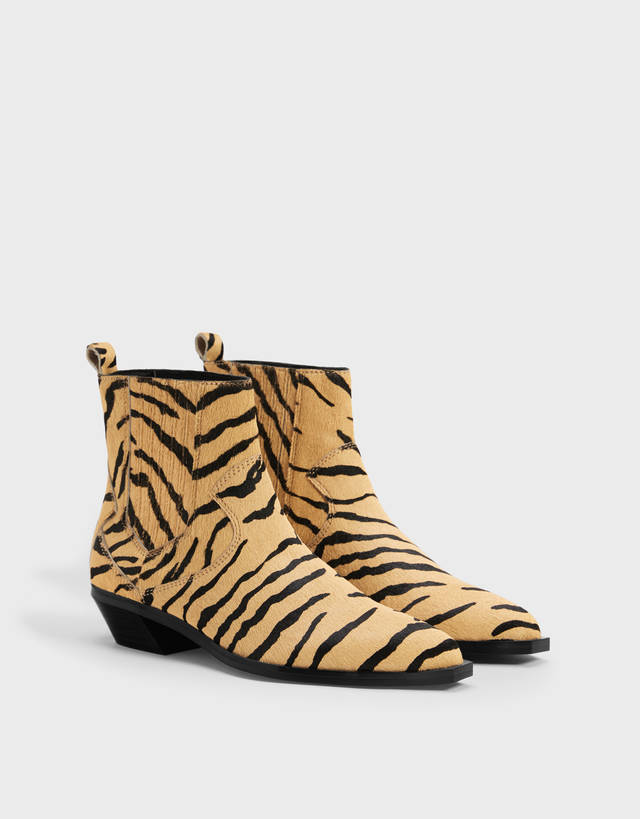 12a94ba0552 Animal print LEATHER cowboy ankle boots