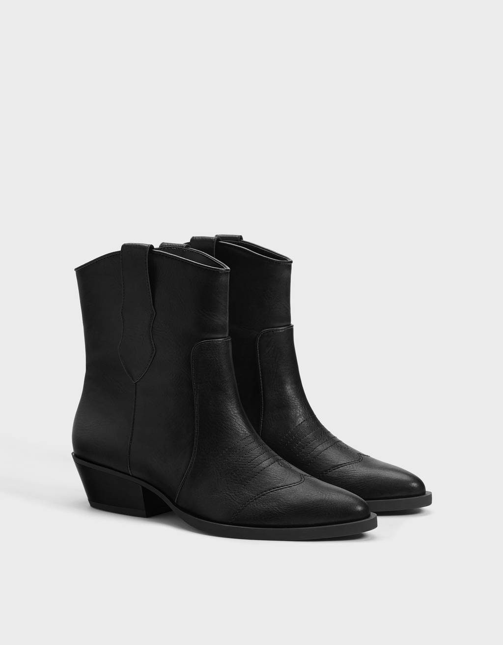 Cowboy ankle boots with topstitching