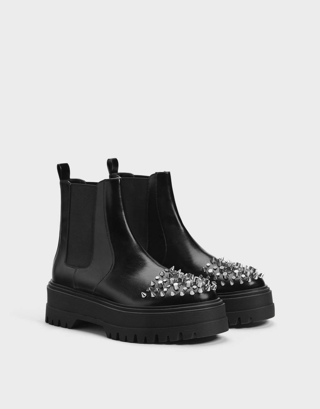 Stretch ankle boots with stud details