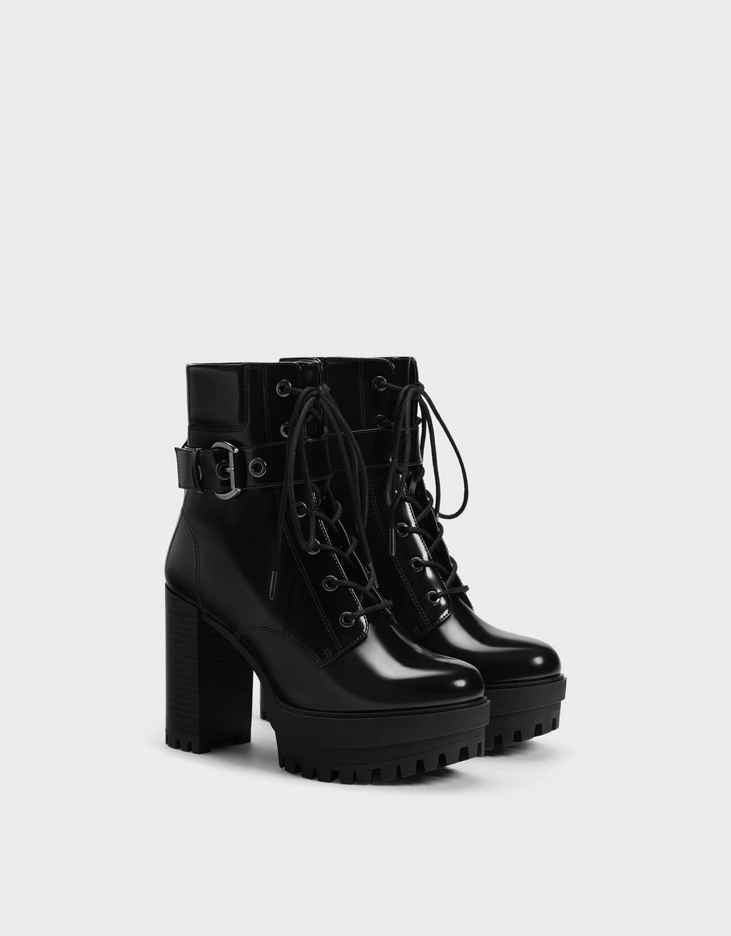 Platform high-heel ankle boots