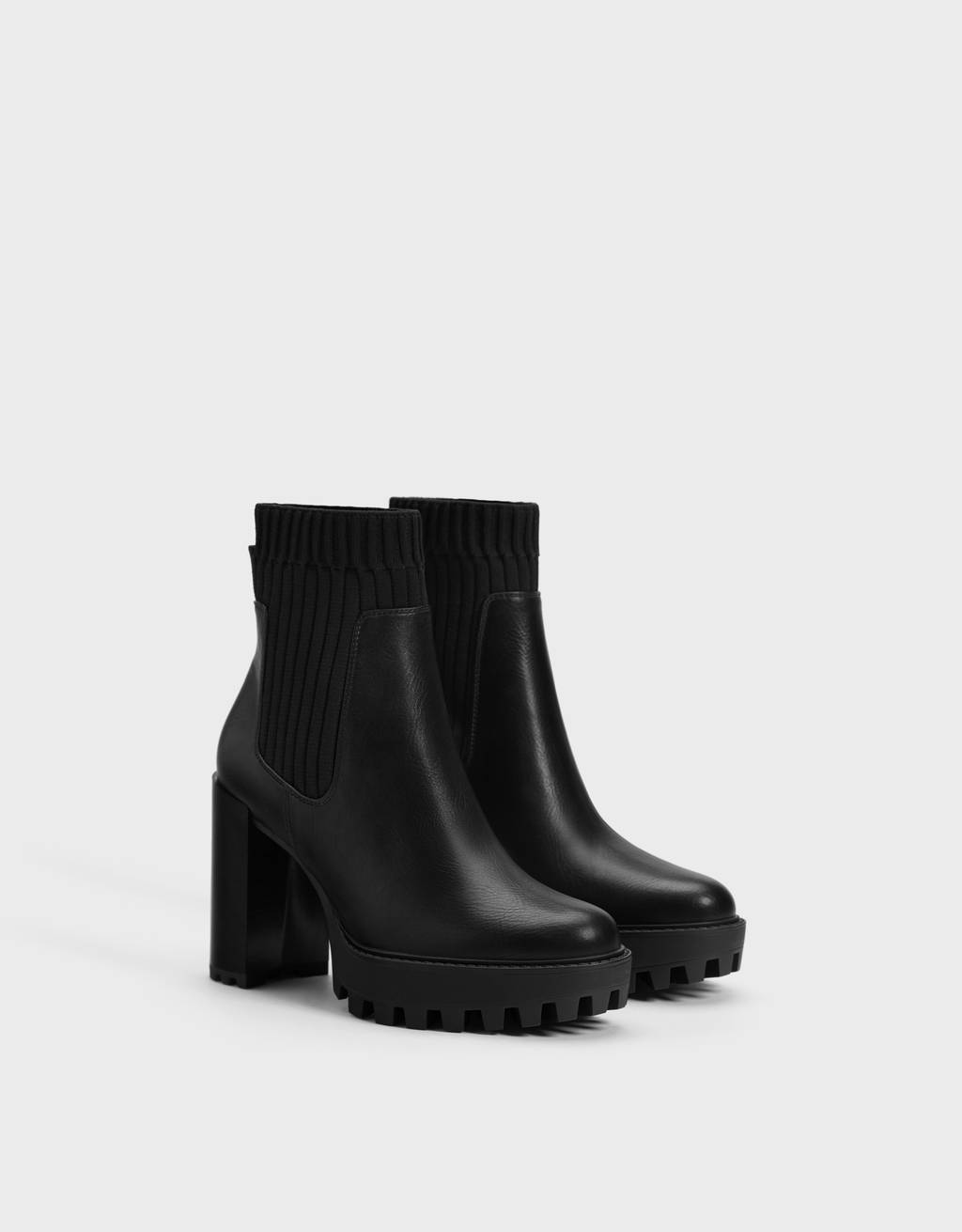 Sock-style platform ankle boots