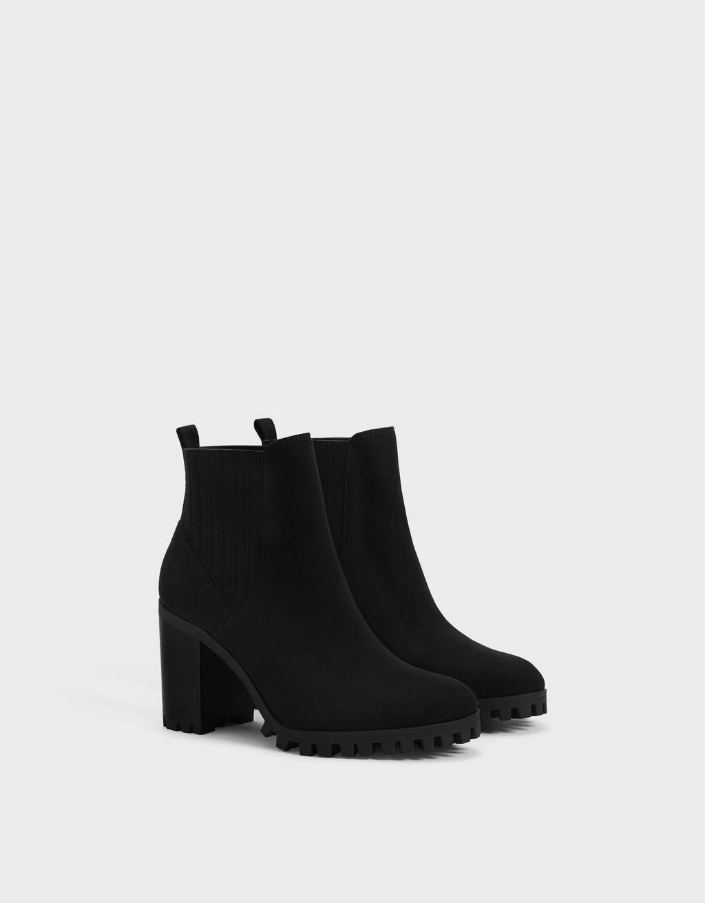 High-heel track-sole ankle boots