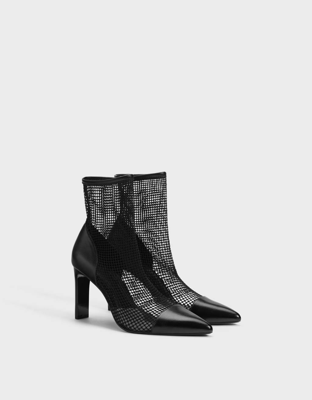Mesh high-heel ankle boots