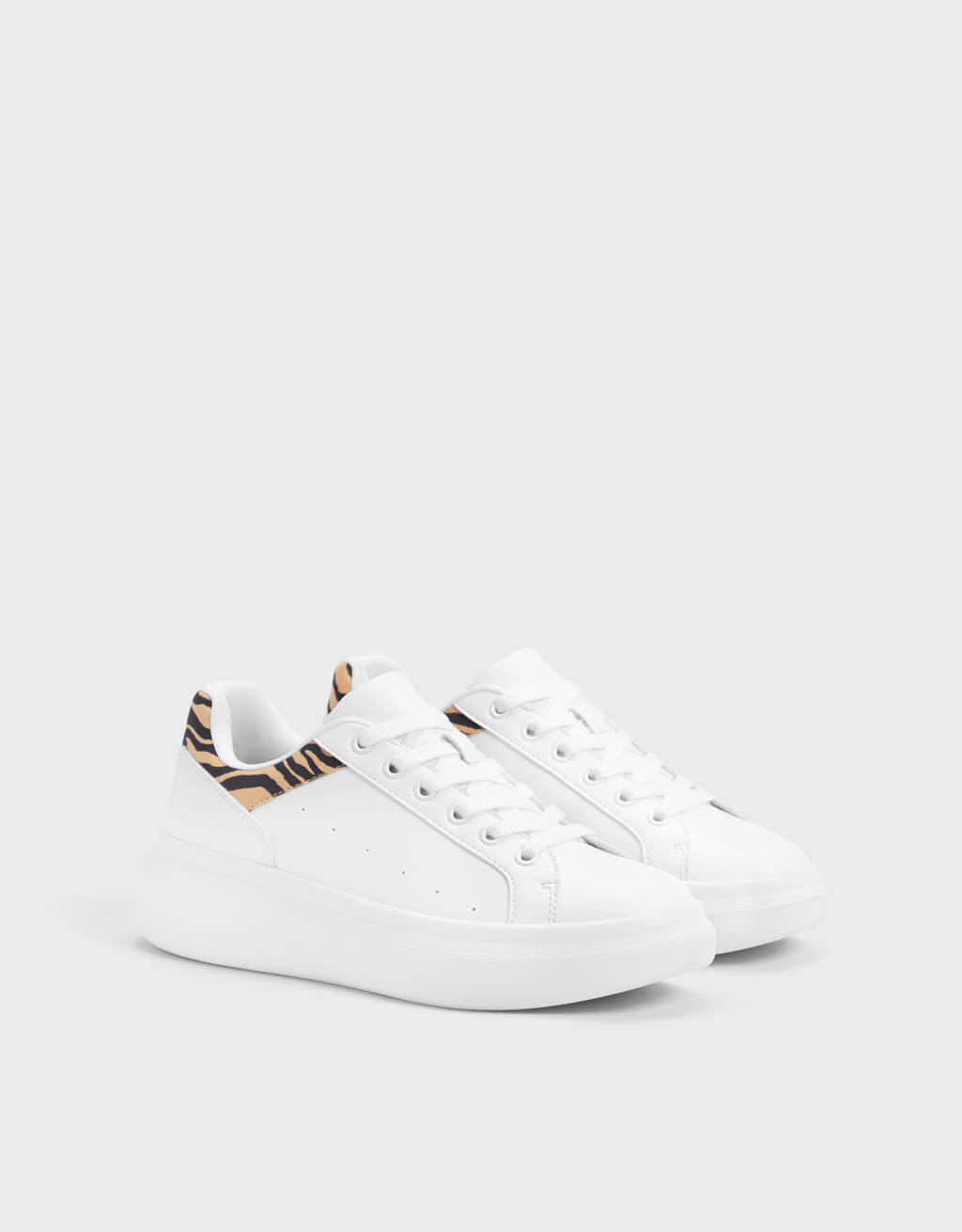 Platform trainers with animal print trim