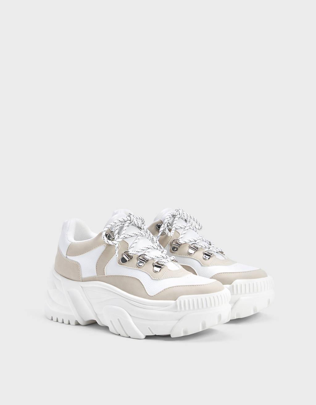 Sneakers contrastantes semelle XL