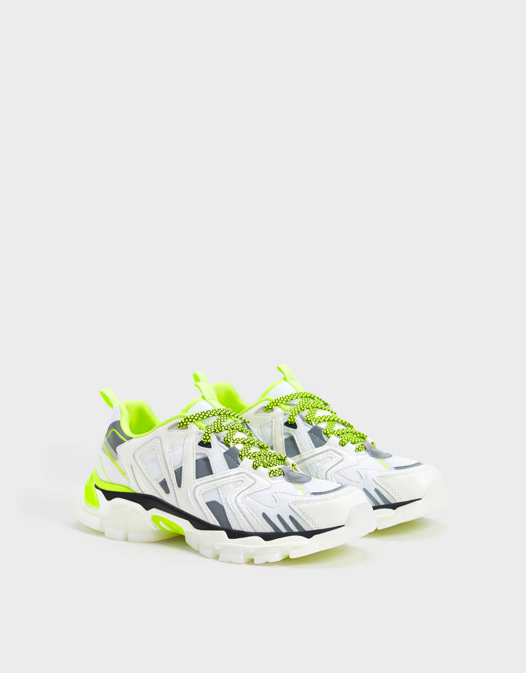 Multi-piece trainers with neon details