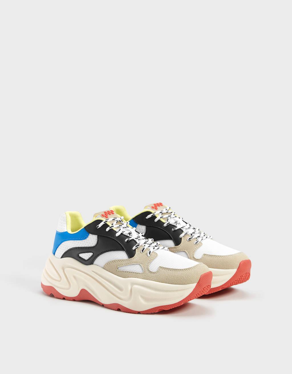 Sneakers con plateau multicolore