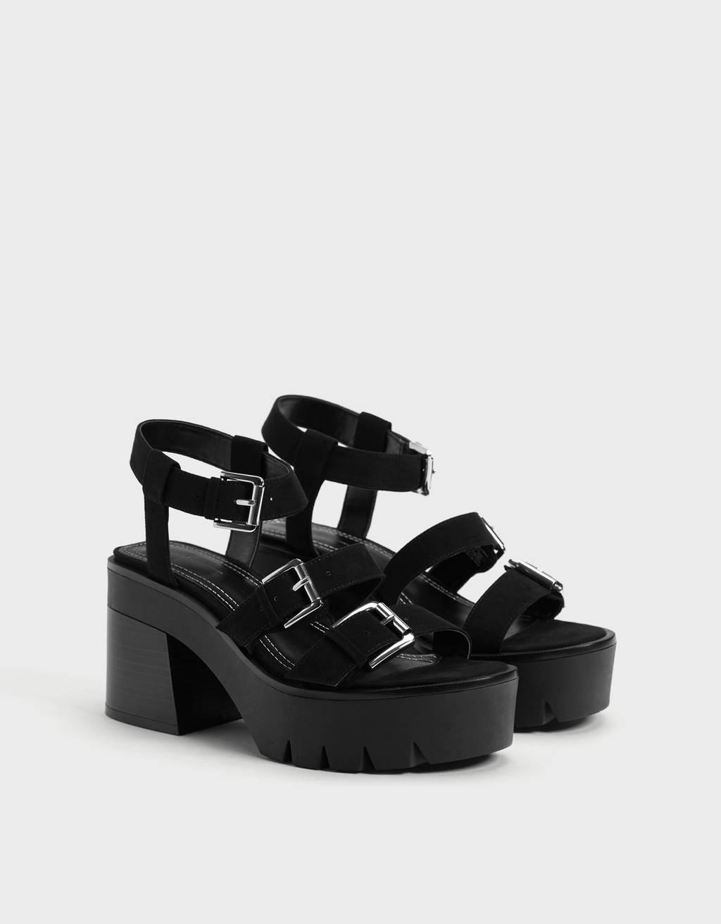 Strapped platform sandals