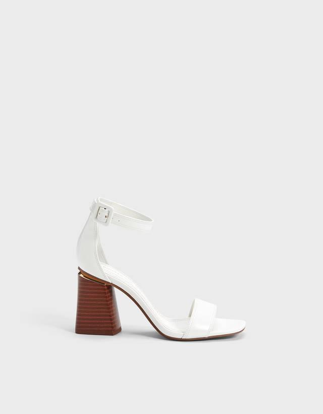 Mujer Tacon Blancas Piel Sandalias De Dedo Xrcdboe QCdtosxhrB