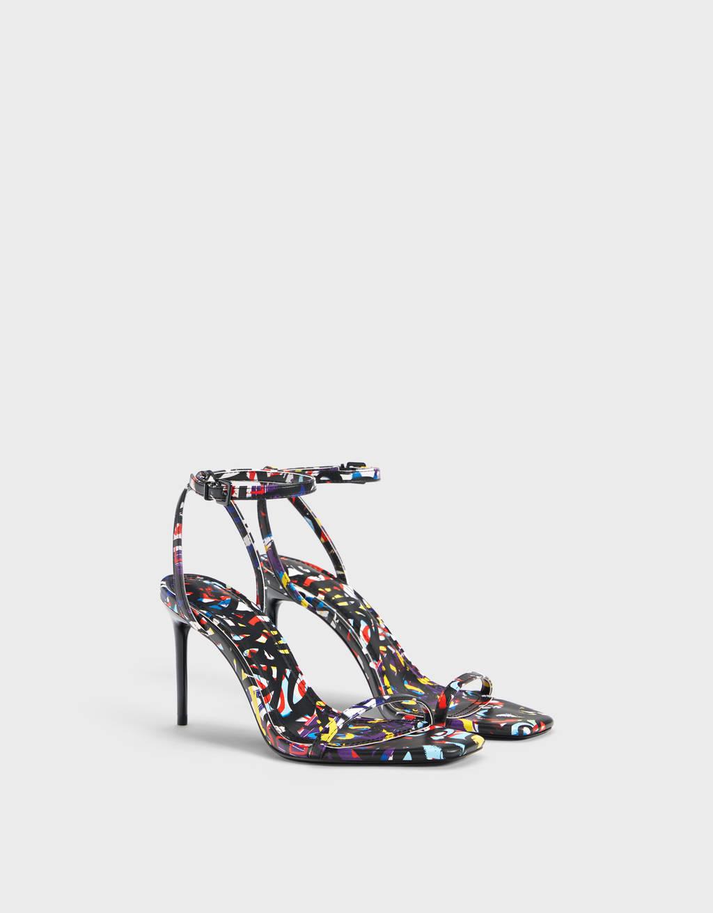 High heel graffiti sandals