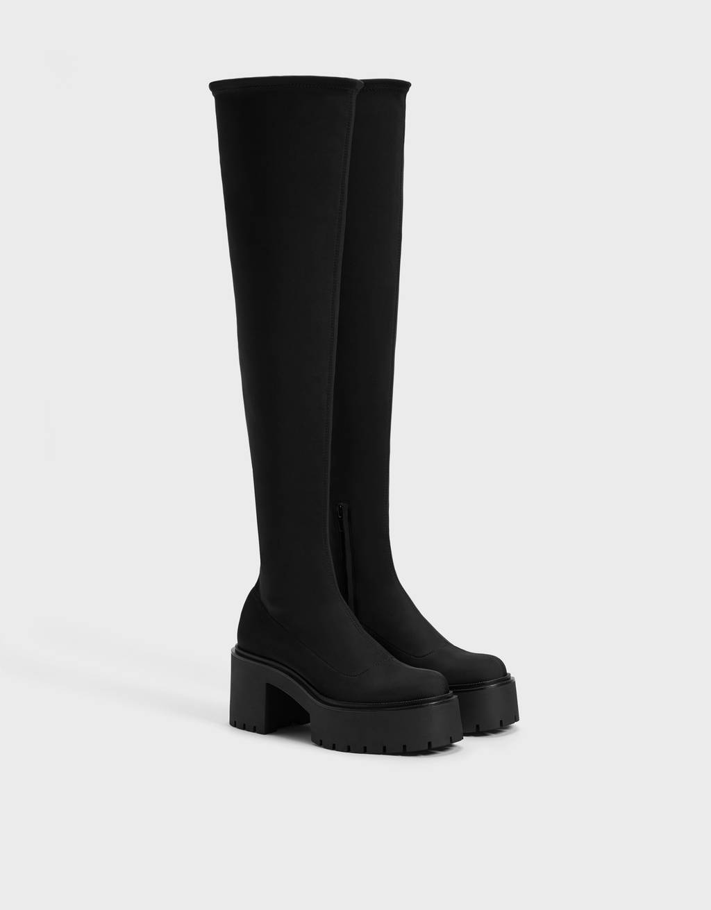 Platform boots with technical material