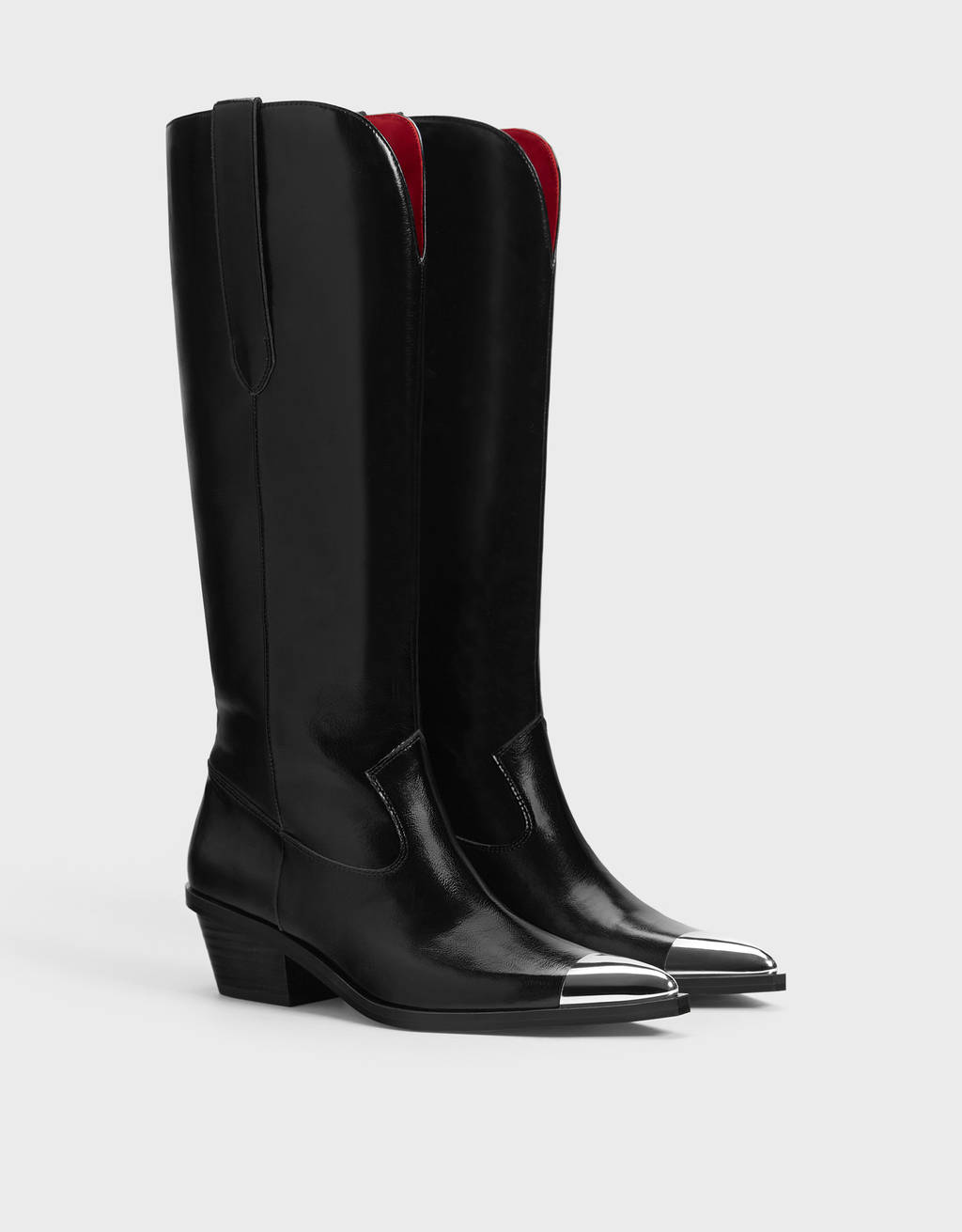 Cowboy boots with metallic toecaps