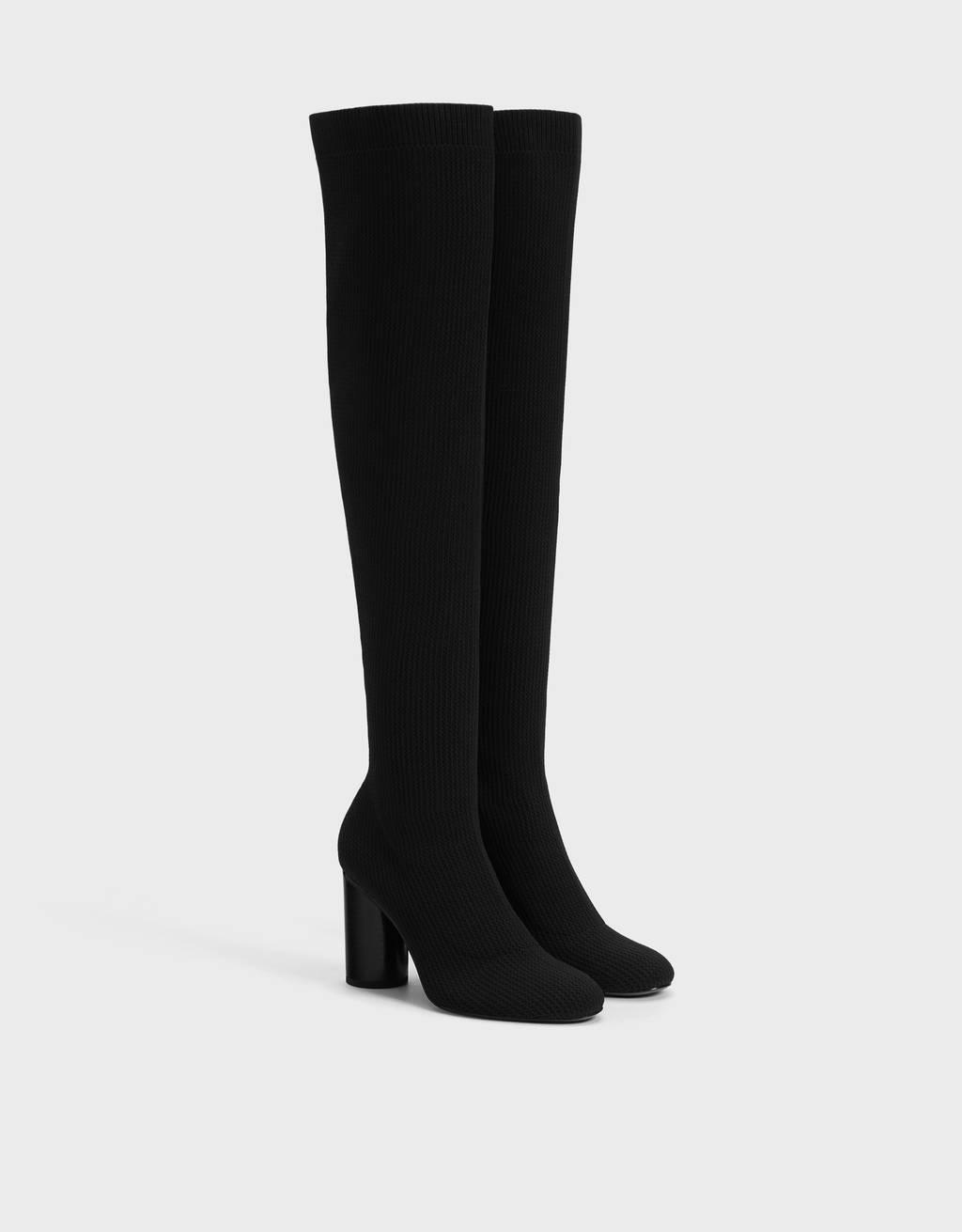 Stretch fabric high heel boots