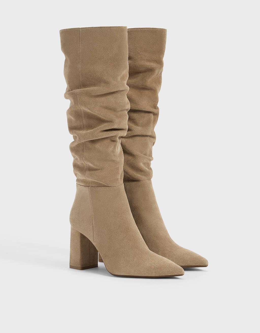 LEATHER slouched boots