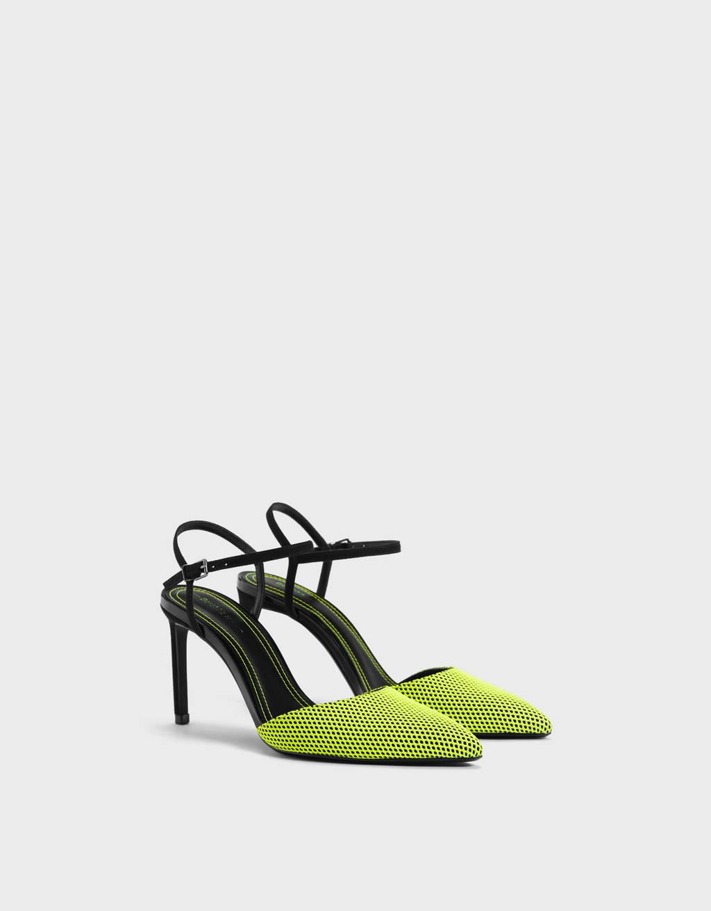 Neon mesh high-heel shoes