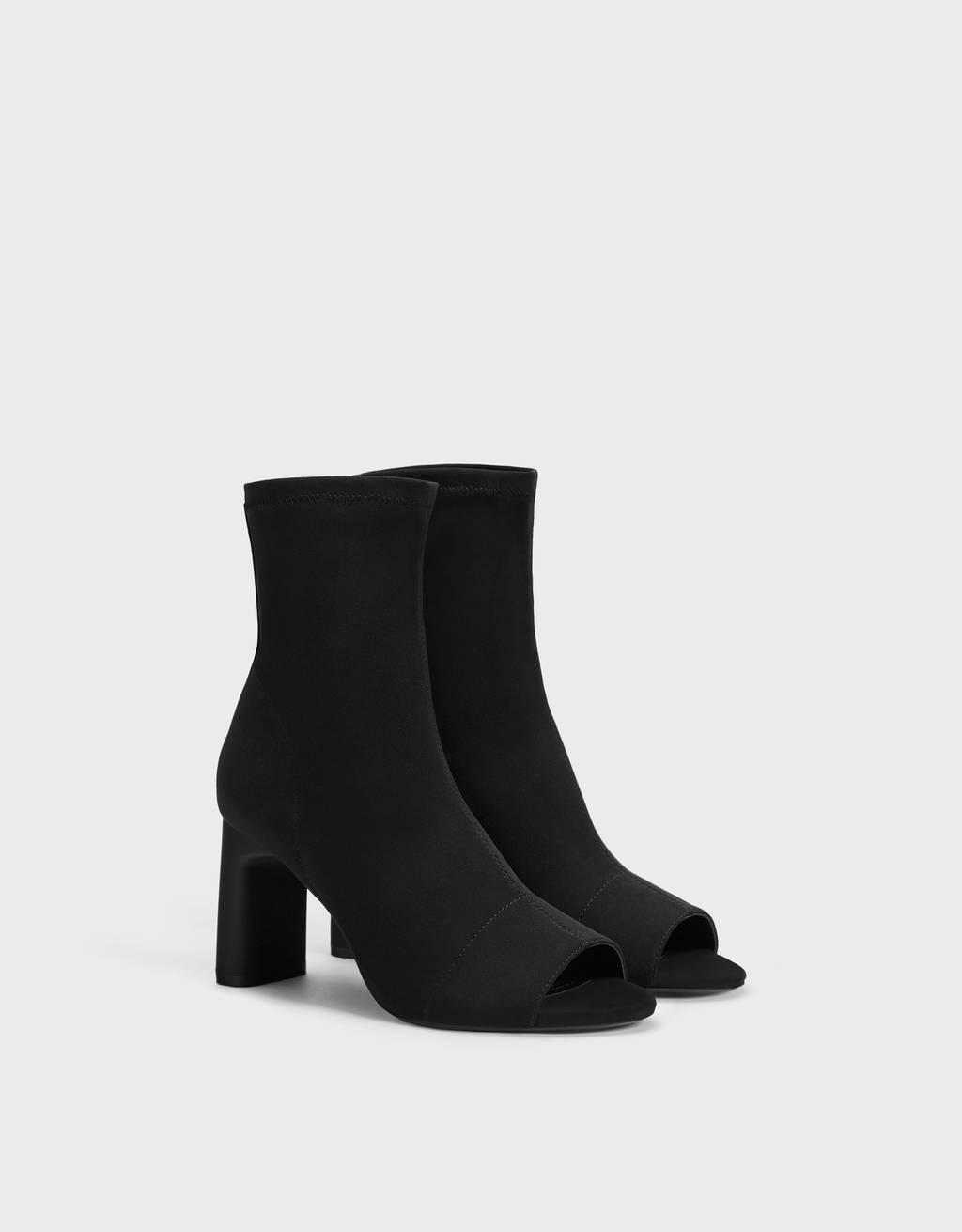 Elastic peep toe ankle boots