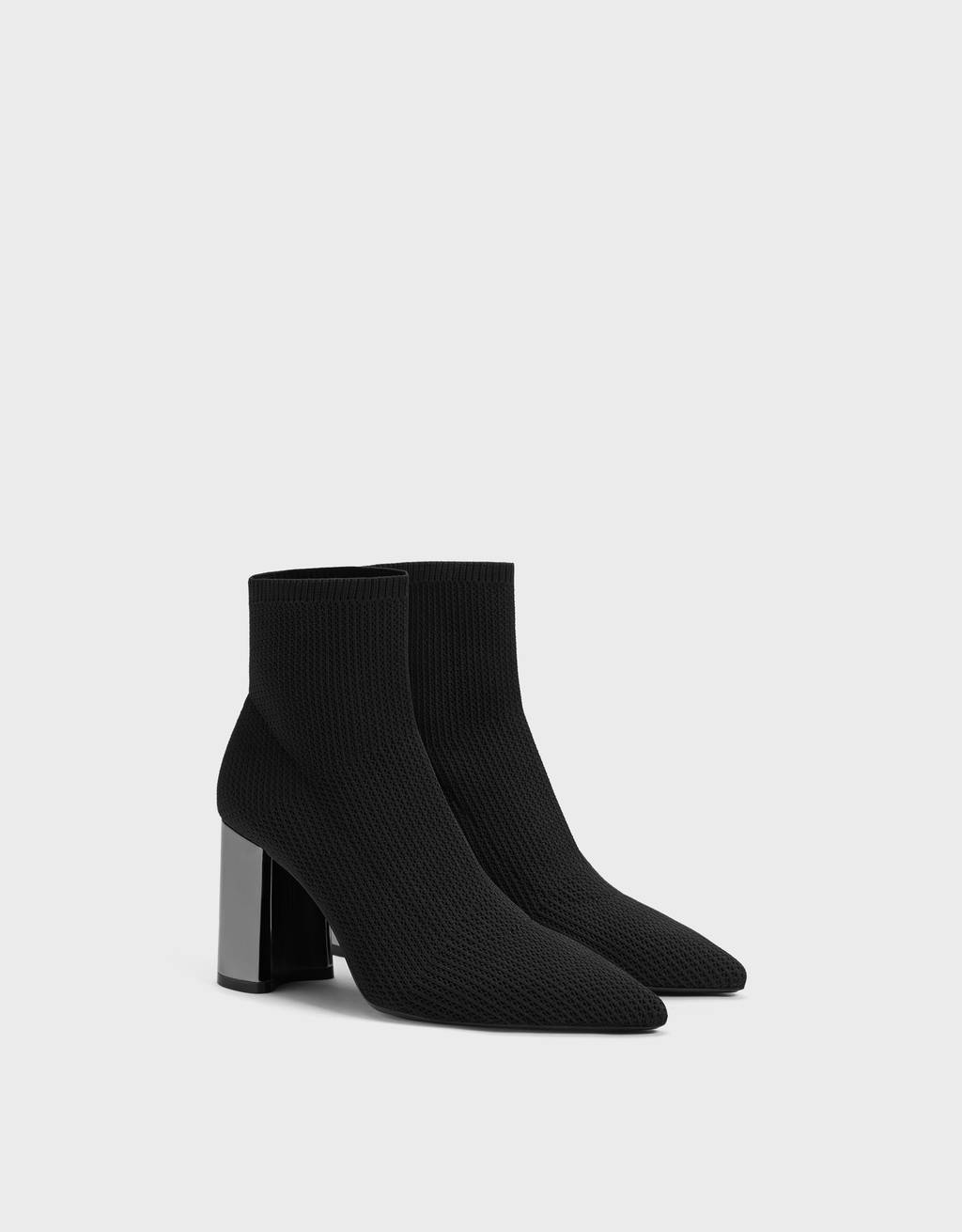 High-heel sock-style ankle boots