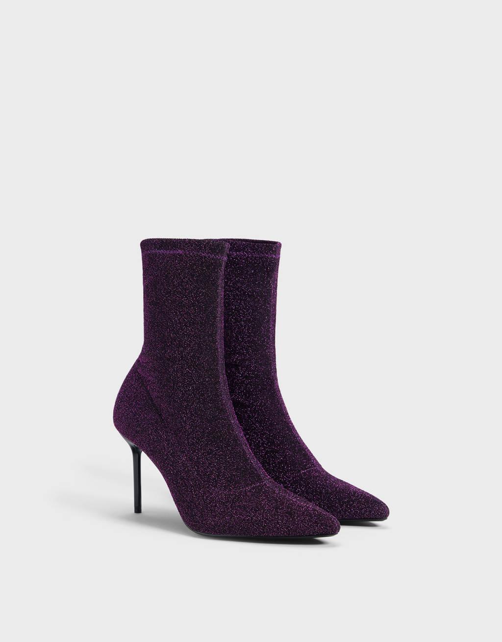Bottines à talon chaussures-chaussettes scintillantes