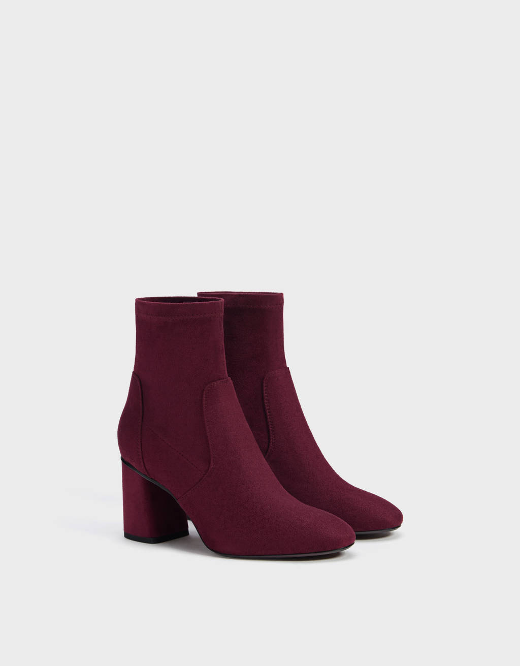 Elasticated high-heel ankle boots
