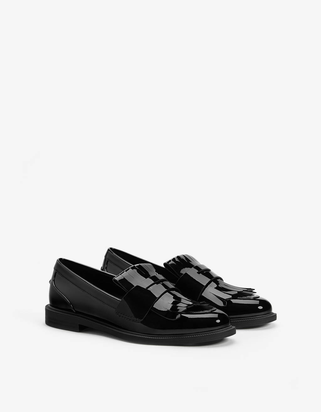 Faux patent loafers with kiltie