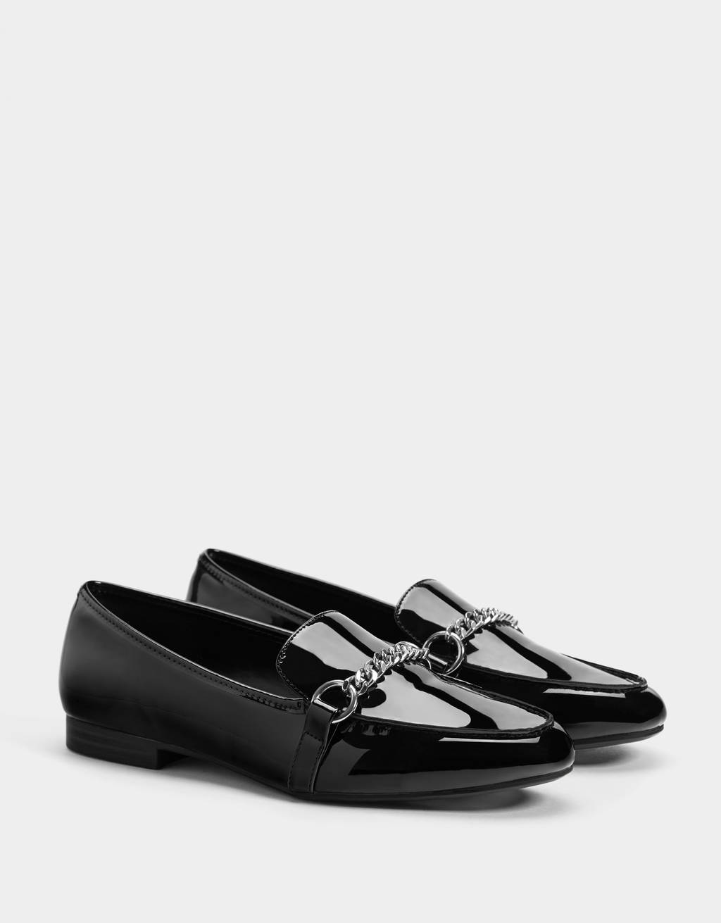 Faux patent loafers with chain detail