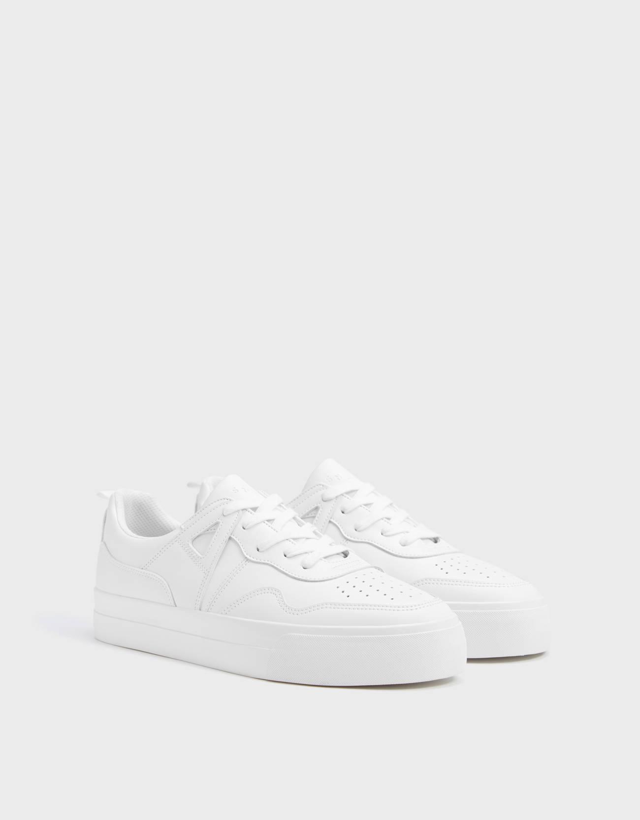 Men's white monochrome trainers