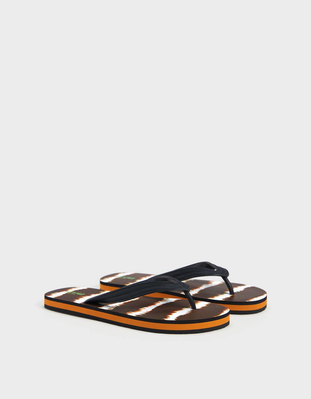 Tie-dye thong sandals