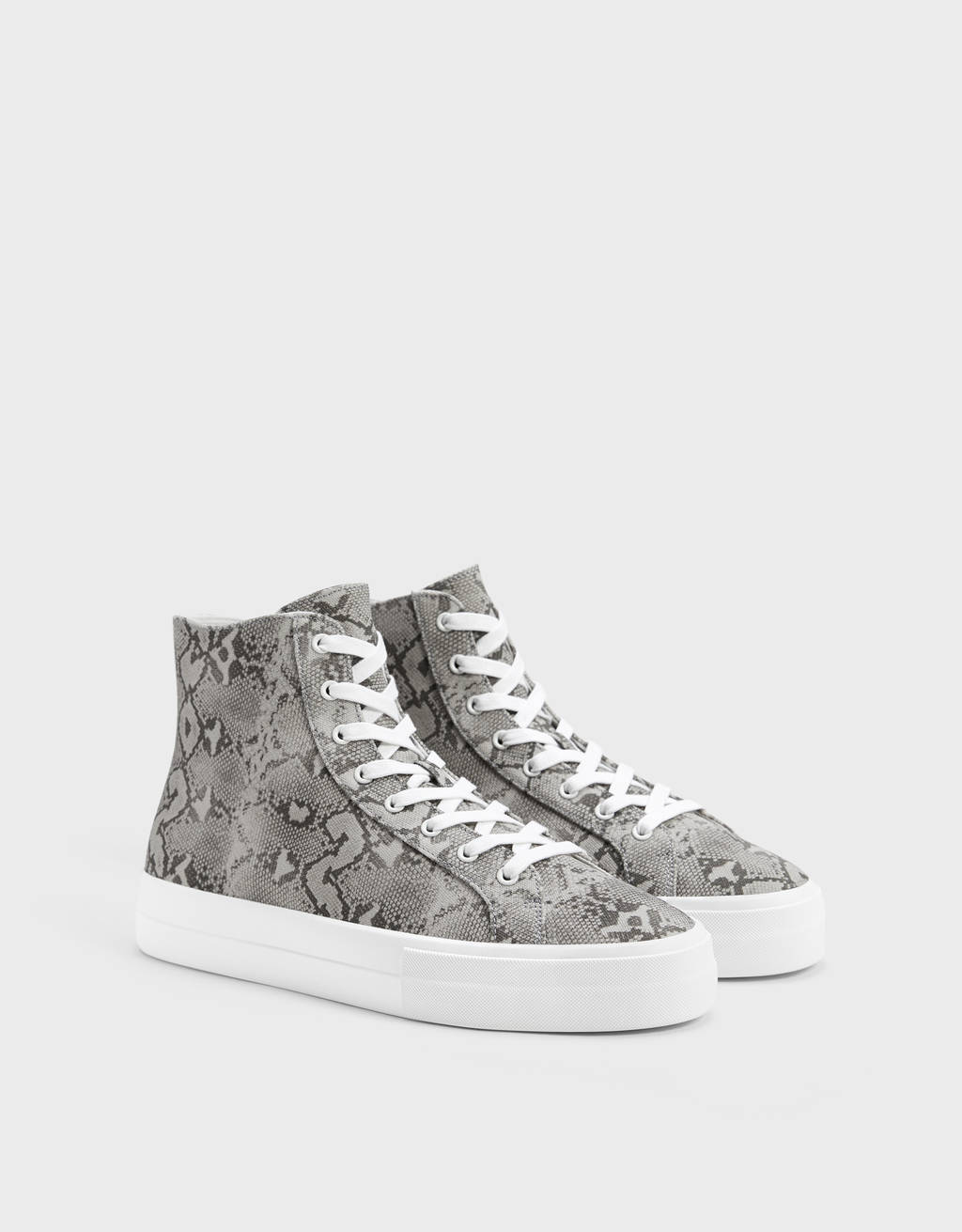 Men's animal print high-top trainers