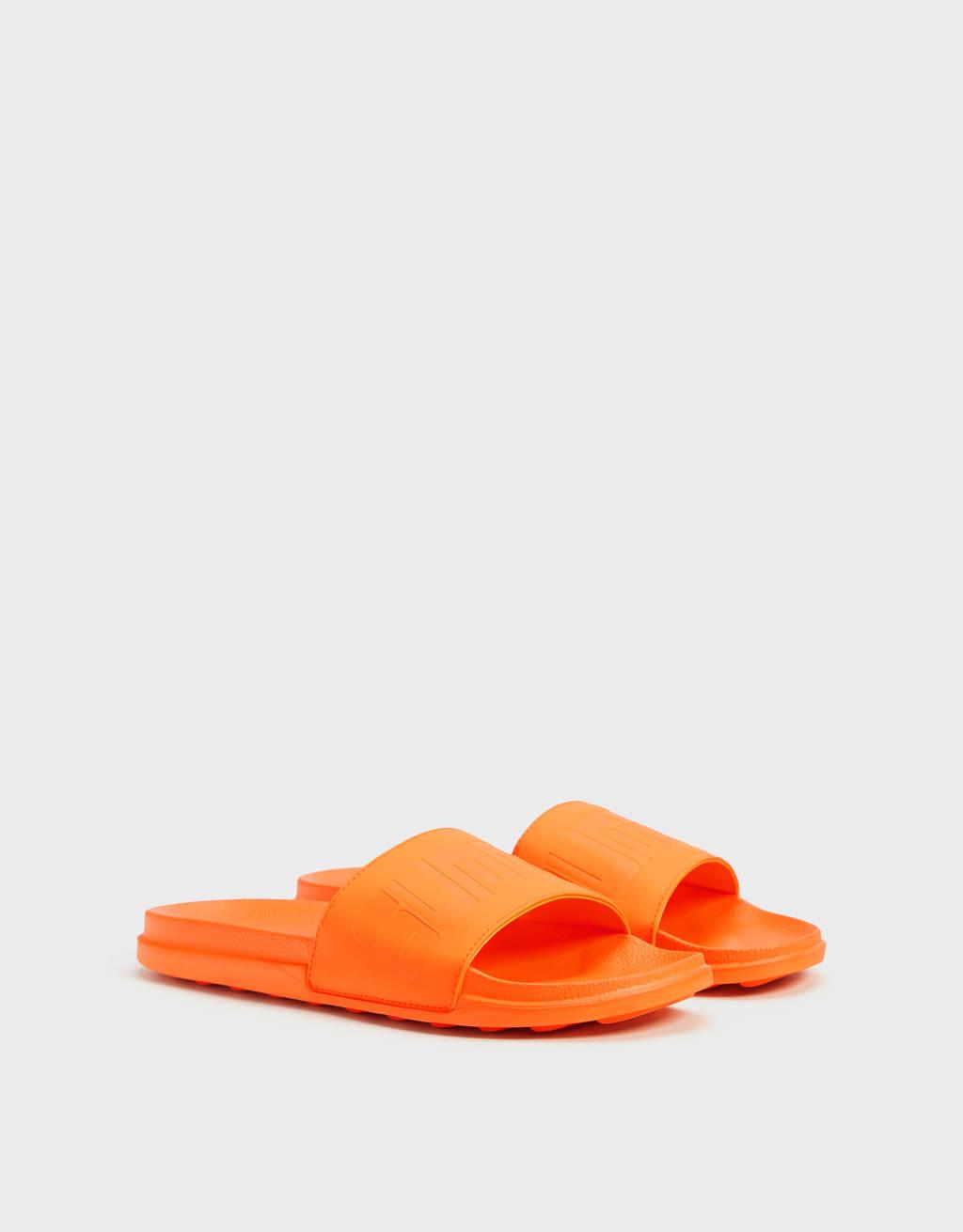 Мъжки чехли в неонов цвят с надпис