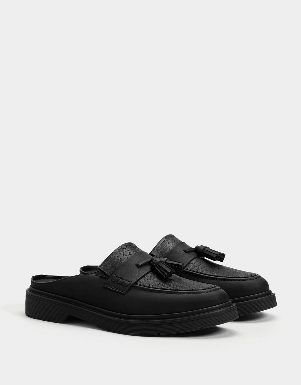 Tassel loafer mules