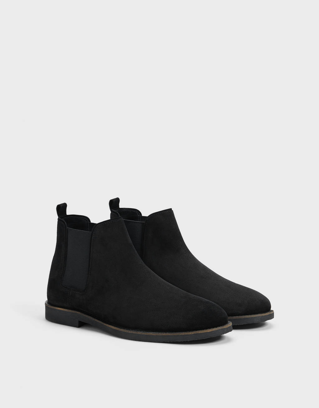 Men's LEATHER ankle boots with elastic gores