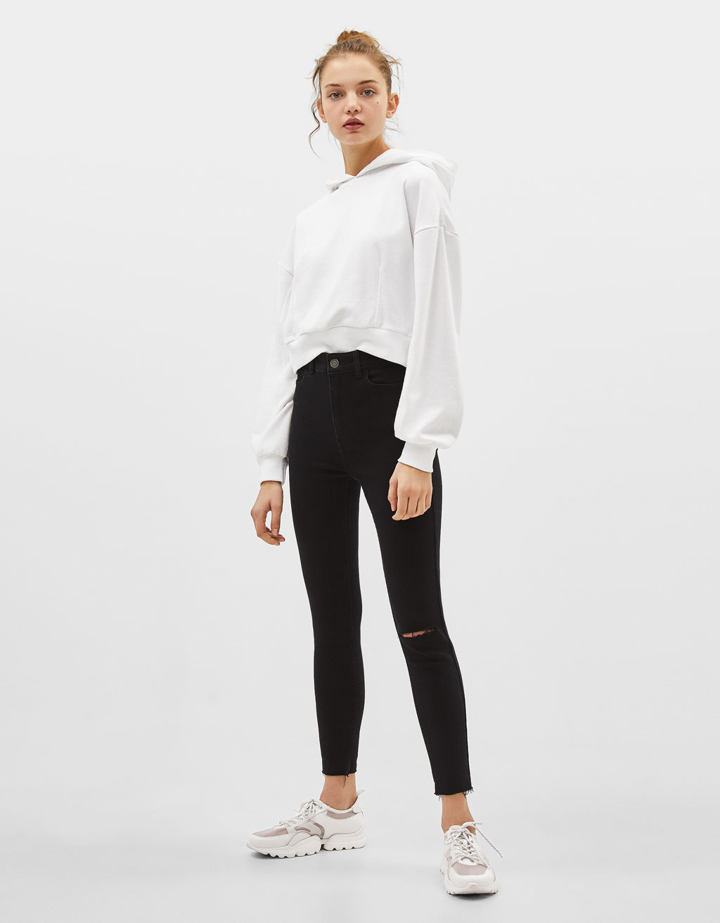 Super high waist cropped skinny jeans