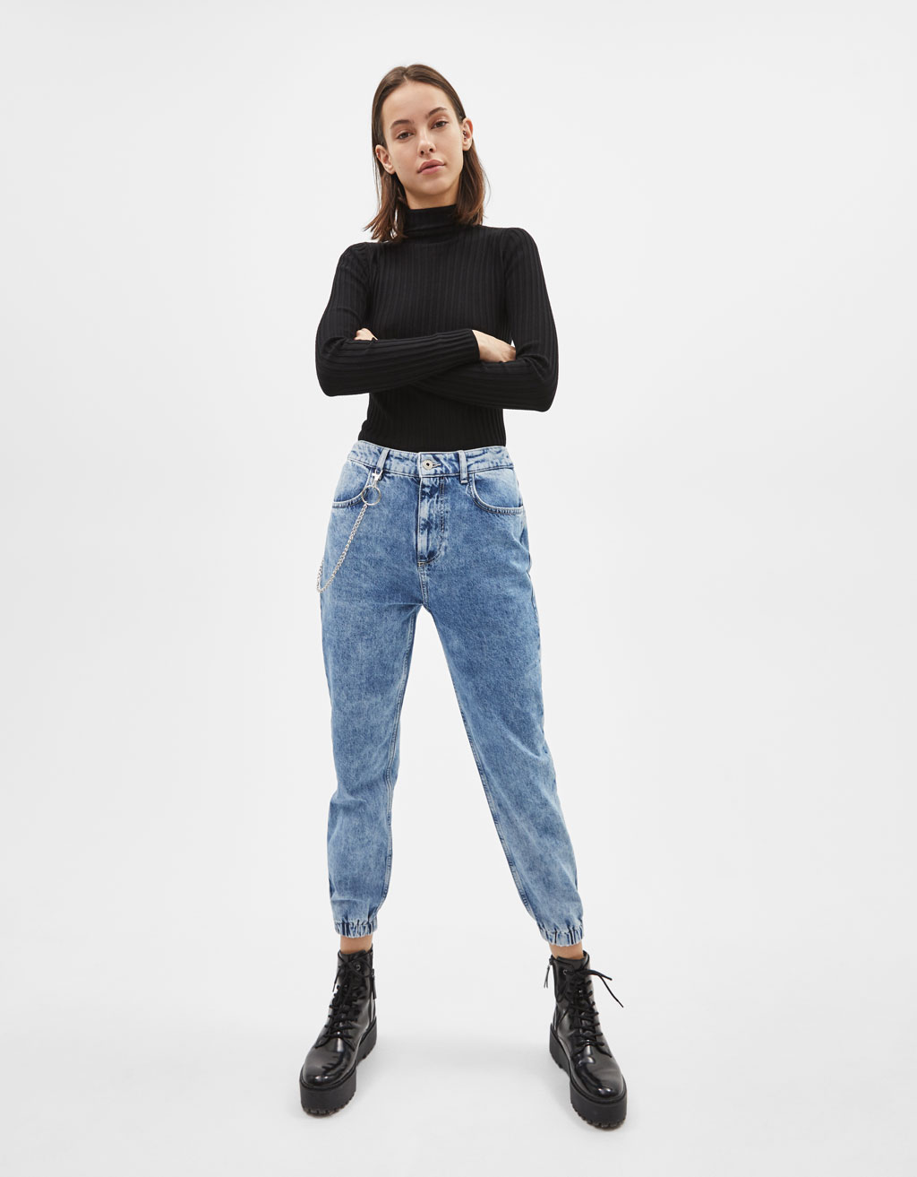 High waist denim joggers with chain