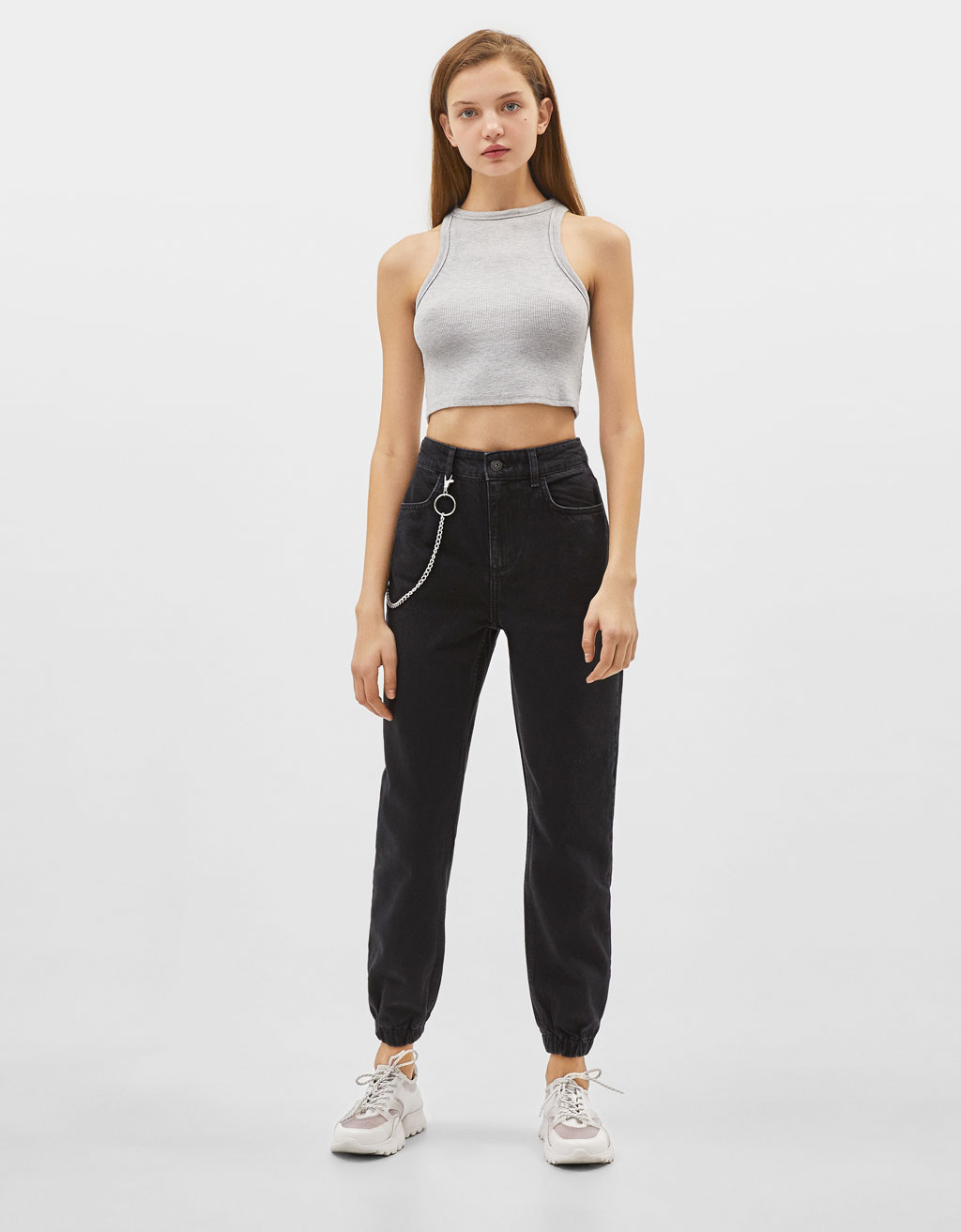 Jeans Jogger High Waist con catena