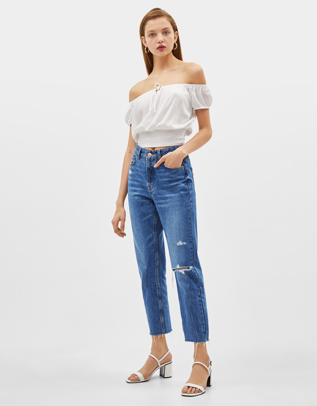98b394f3d9db1 Cropped - Jeans - COLLECTION - FEMME - Bershka France