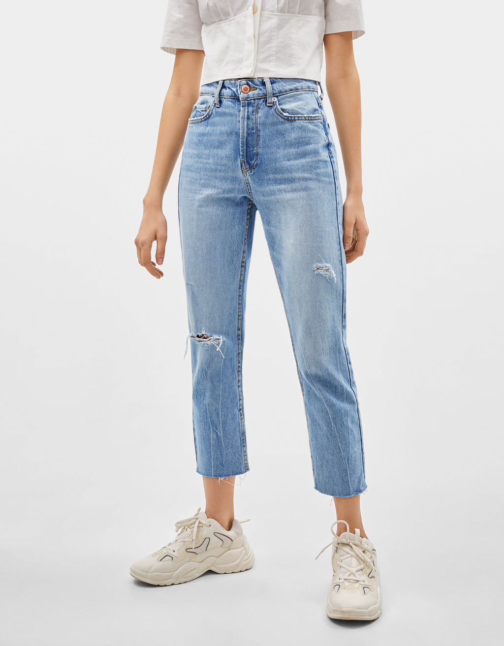 Cropped high waist straight-leg jeans