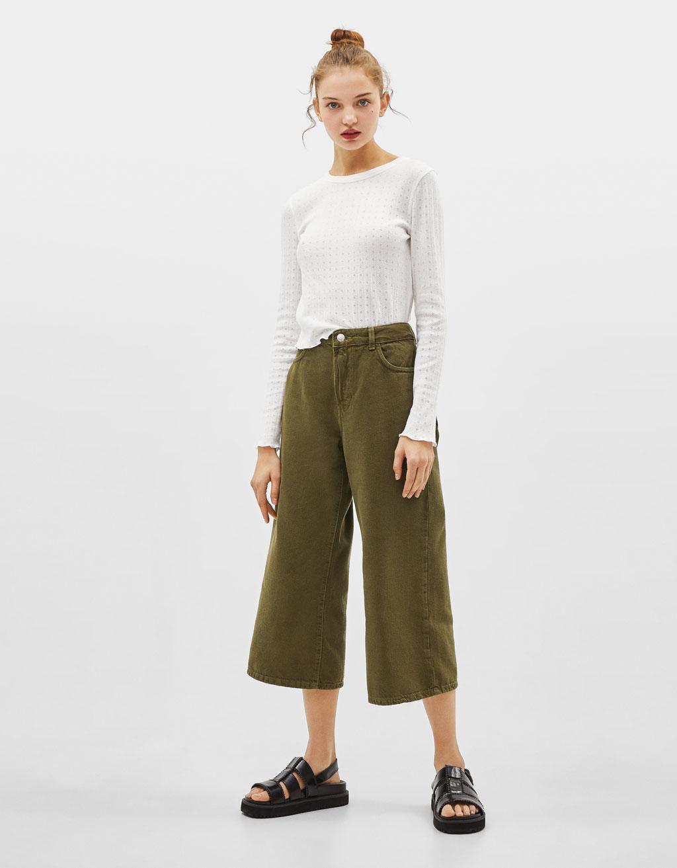 Culotte-jeans med mellemhøj talje