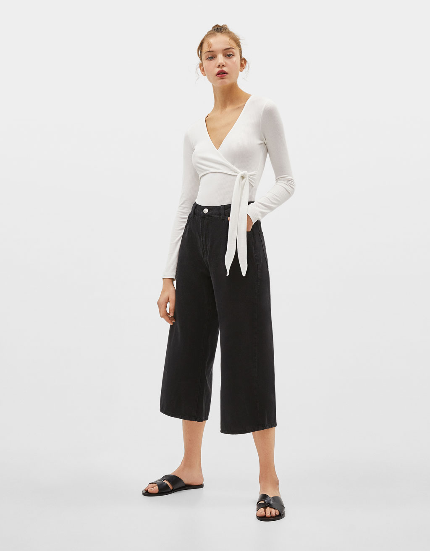 Mid waist denim culottes