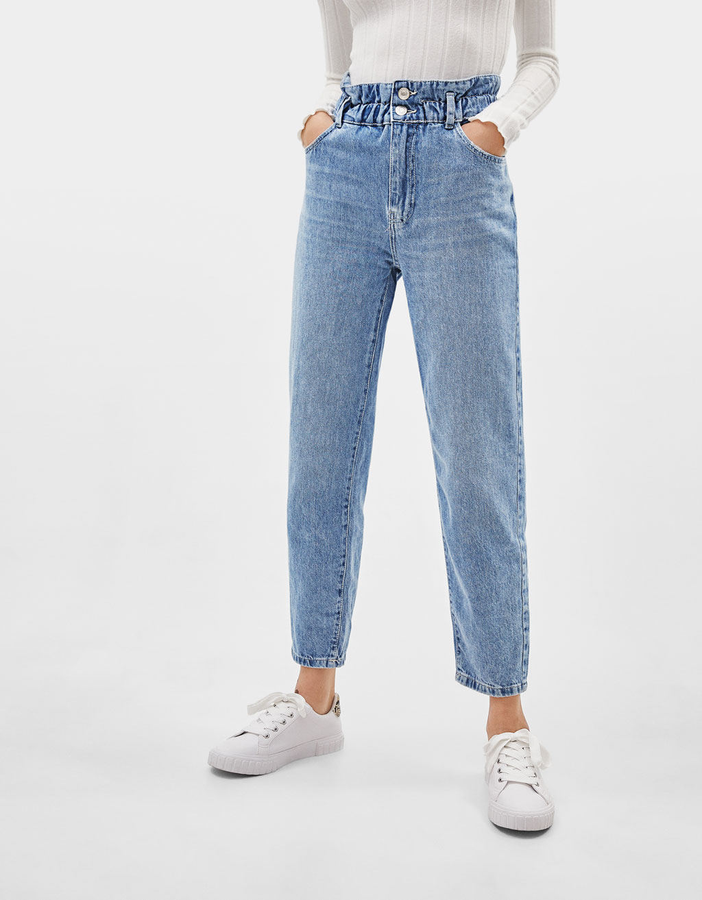 Paperbag jeans with elastic trims