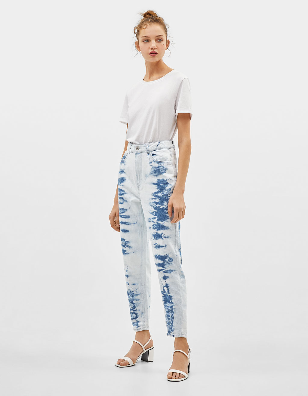 High waist tie-dye mom jeans