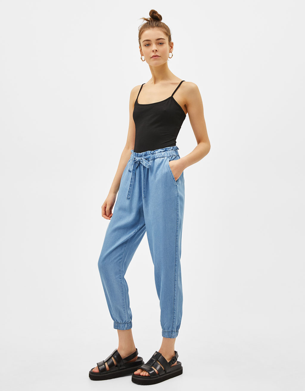 High waist Tencel® denim joggers