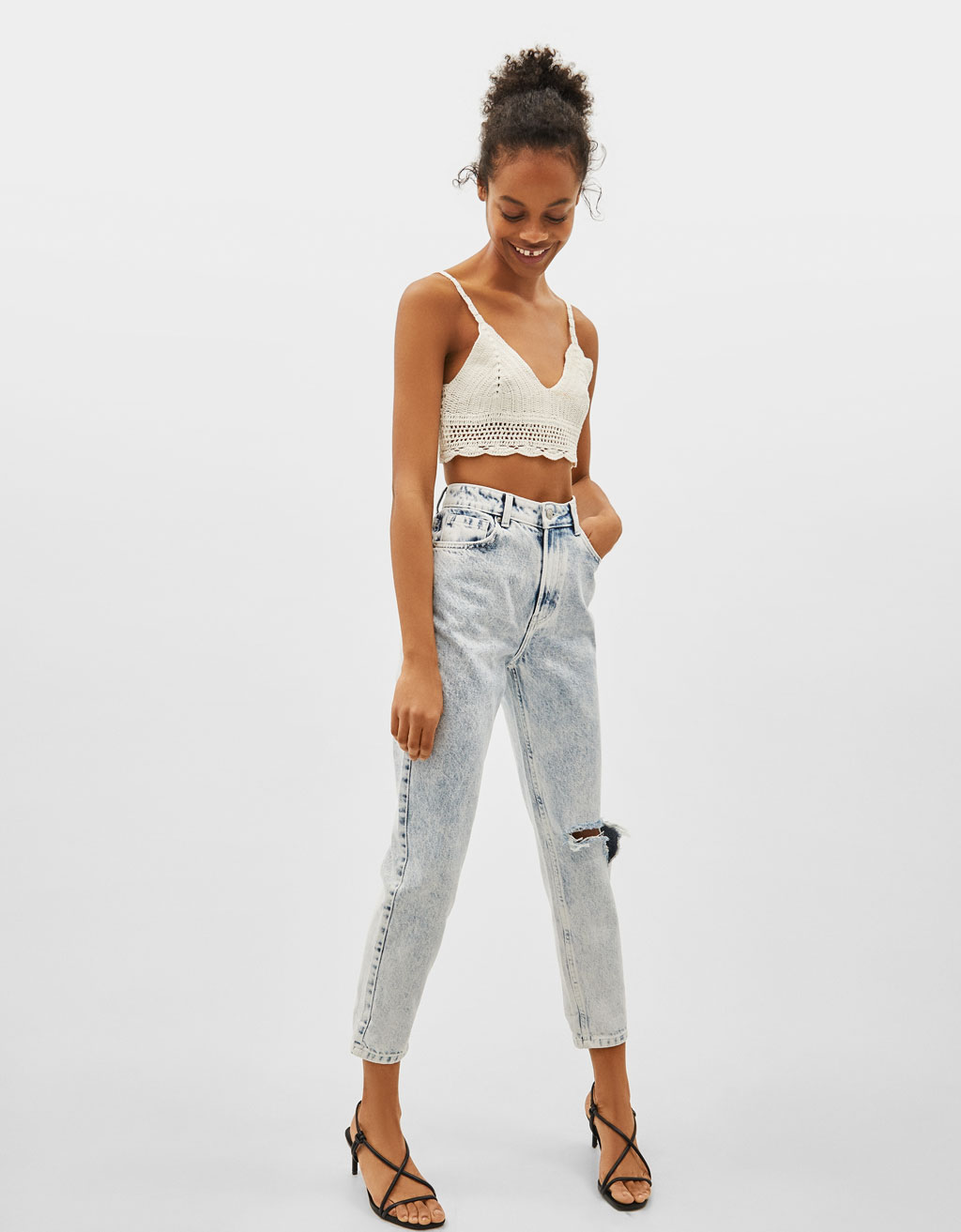 Jeans Mom Fit High Waist Acid wash