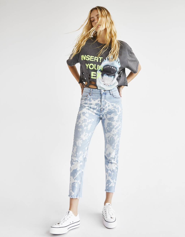 Tie-dye bleached-effect jeans