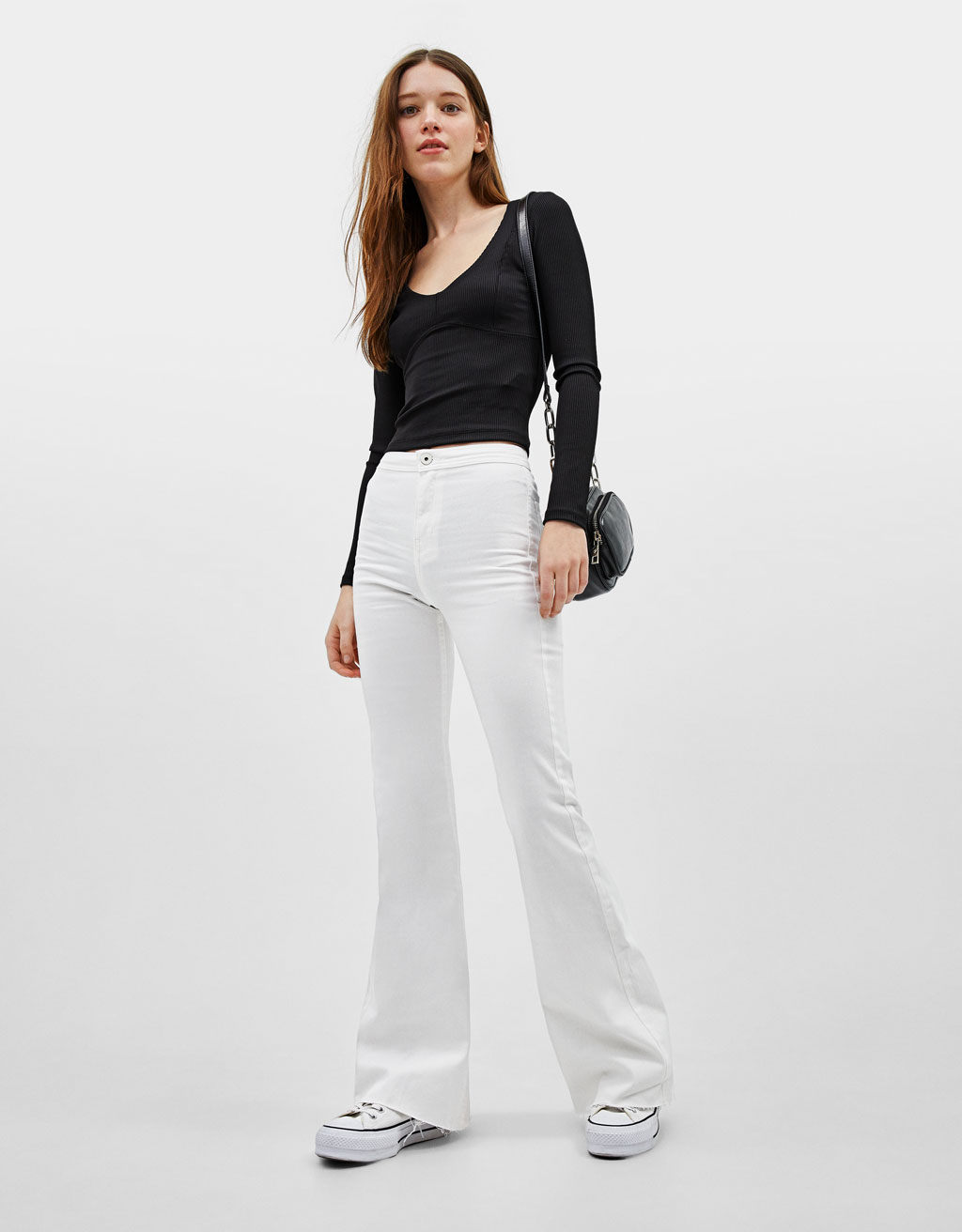 Elastic flared pants