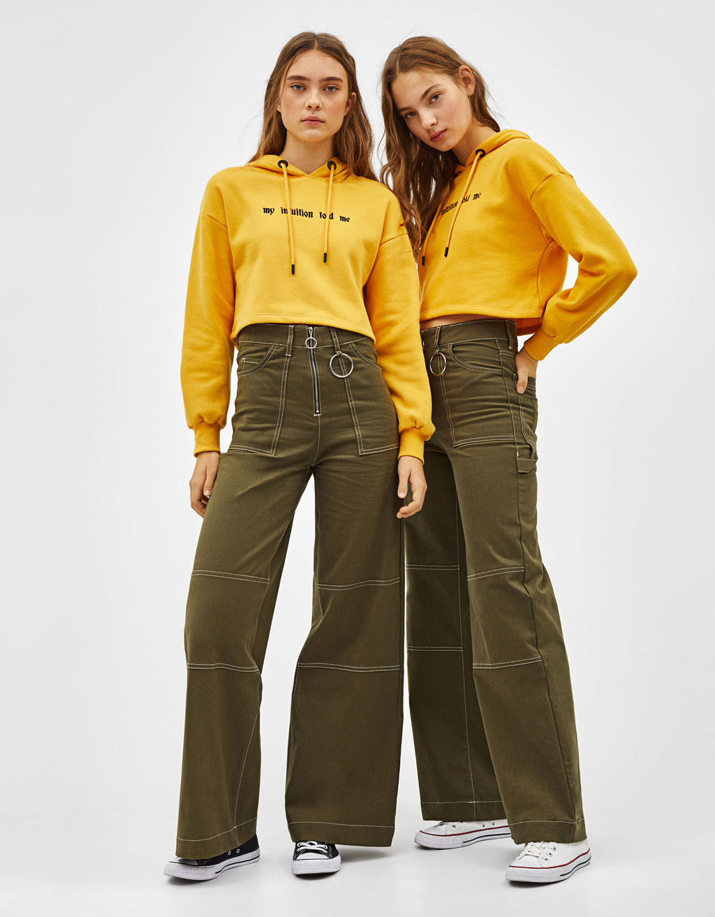 Wide-leg utility trousers