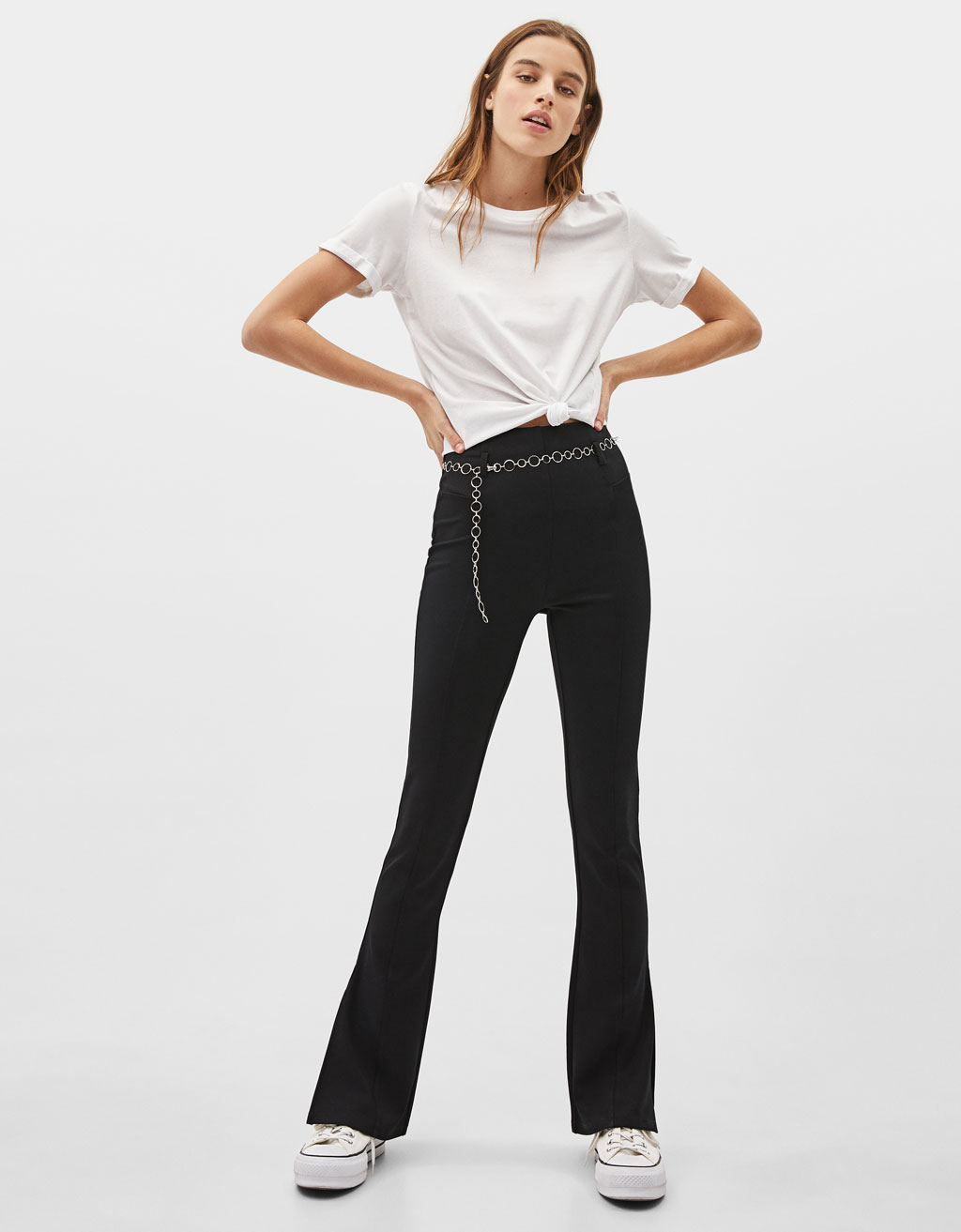 Flared pants with chain