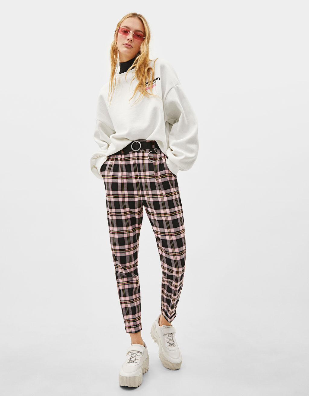 Belted plaid print sweatpants