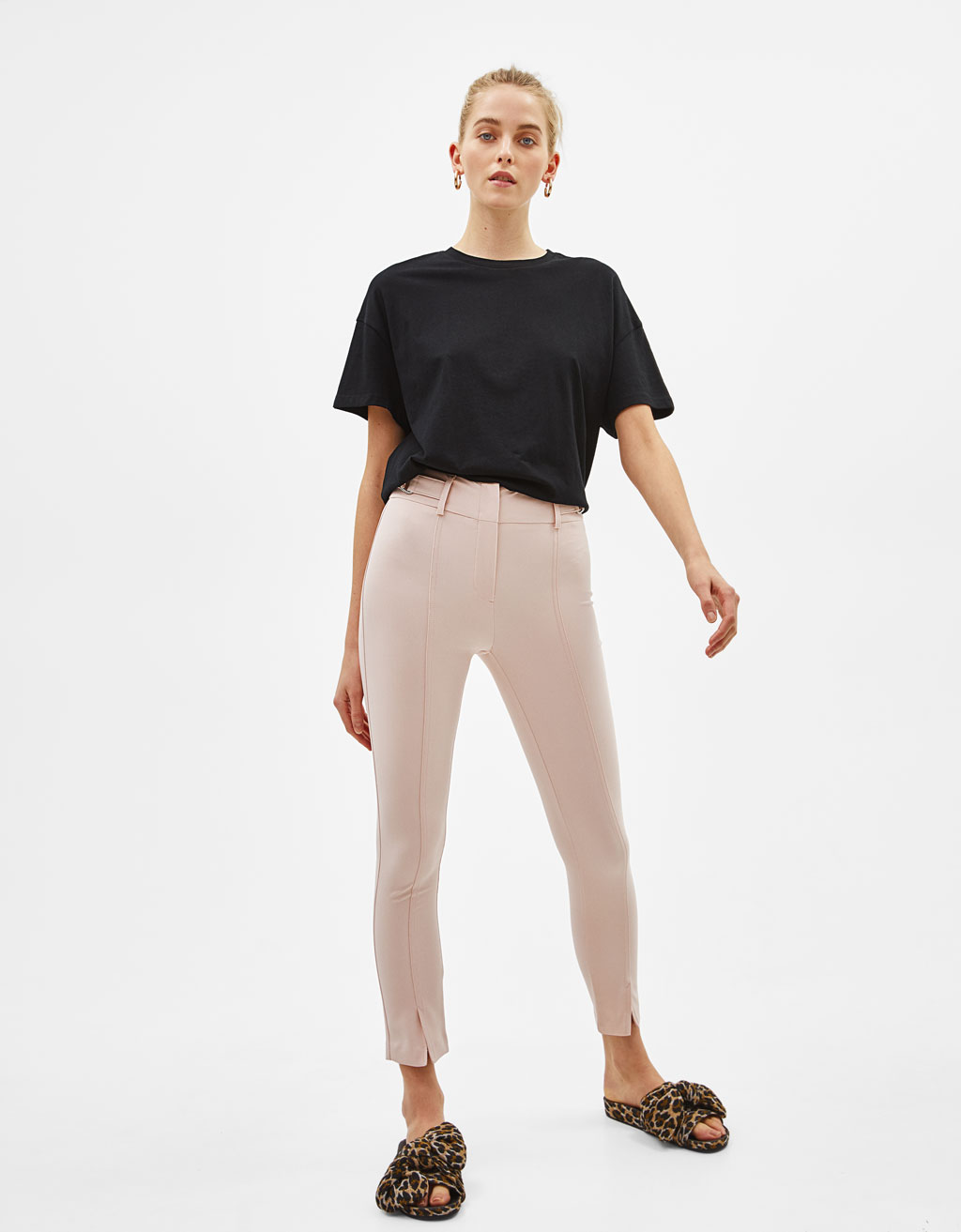 Slim fit pants with side buckles