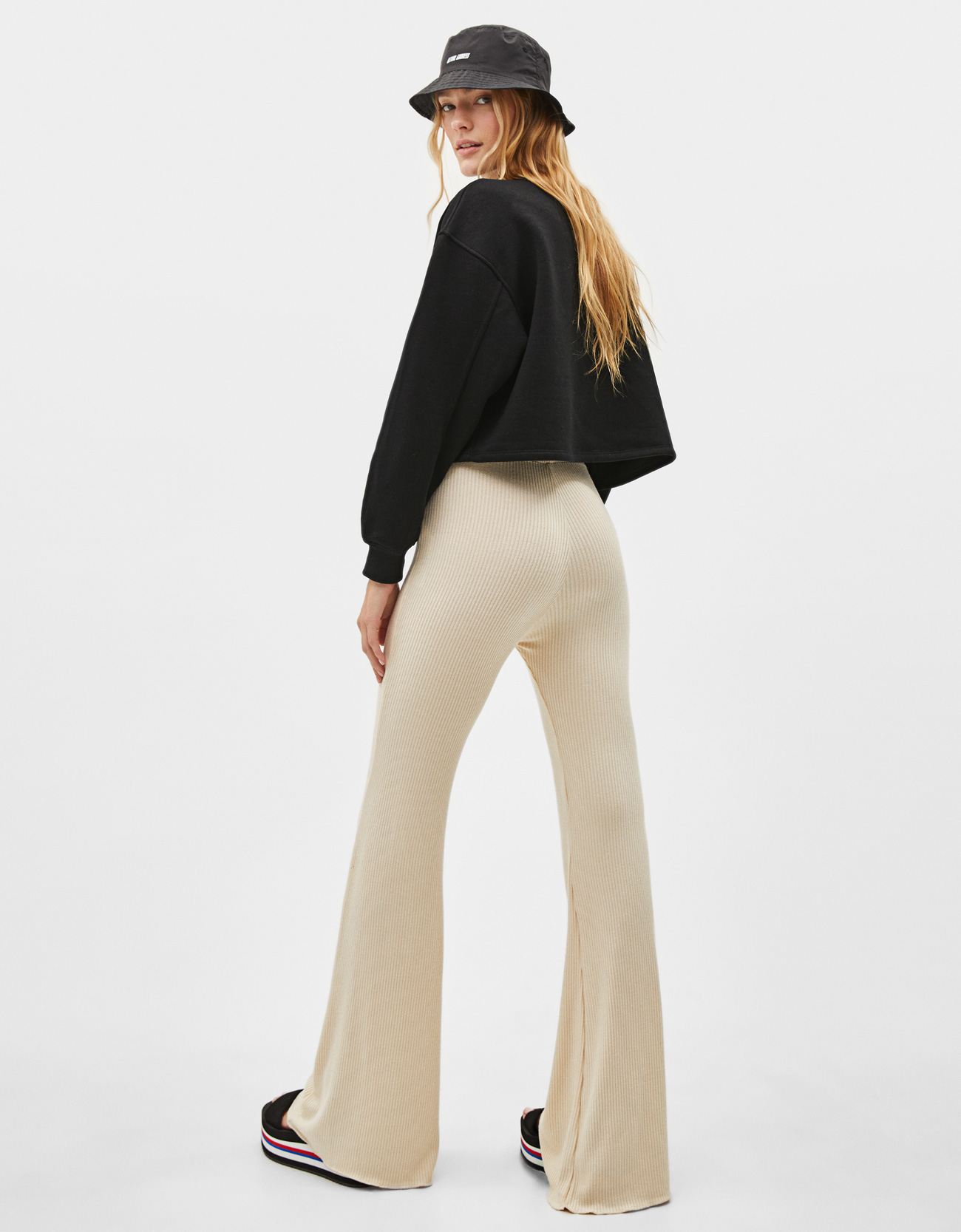 Missguided tall exclusive nude lace up flare trousers in natural